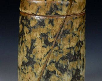 Cover Jar, Wheel-Thrown, Carved