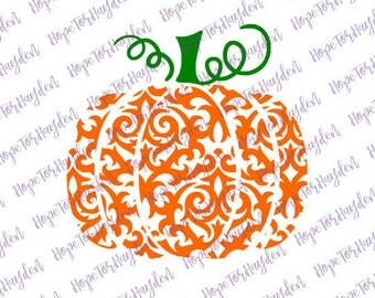Swirly Pumpkin SVG | Swirl Pumpkin SVG | Damask Pumpkin | Ornamental Pumpkin | Fancy Pumpkin | Halloween SVG