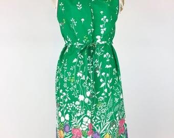 Vintage Green Floral Dress Novelty Border Print Sundress 1960s Cotton Shift