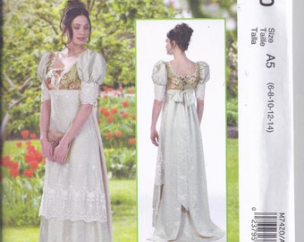 McCalls M7420 from 2016  Misses Empire gown, Regency, Dunraven, Jane Austen.  Sizes 6-14  UNCUT  McCalls Costumes