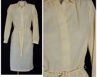 1980s striped yellow and white belted shirtwaist dress from Orvis
