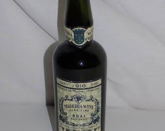 Madeira Wine Bottle Boal Half Sweet 916 Very Fine Portugal Newark