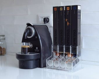 Clear Nespresso Coffee Capsules Holder, 40 capsule Storage Rack, CounterTop Stand, Coffee holder Organizer, Coffee Lover Gift, Kitchen Decor