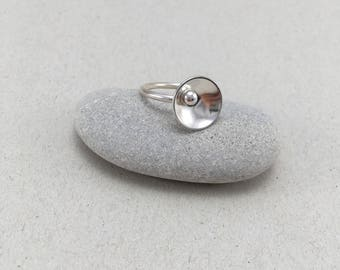 Silver Statement Dome Ring, Handmade 2mm Silver  Ring, Silver Ring, British Silver Ring, Pebble Ring, Dome Ring