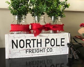 Christmas Wood Caddy. North Pole freight co wood caddy. Christmas decor. Mason jar holder. Wood tray. Kitchen table decor. Farmhouse style.
