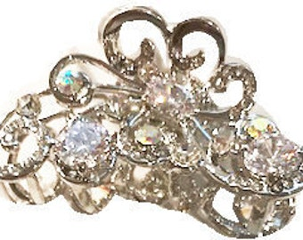 New Silver With Clear Crystal 1 1/2'' Claw Clip