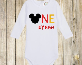 Mickey Mouse First Birthday Onesie and Shirt  / Mickey Mouse Clothing / Mickey Mouse Onesie / Mickey Mouse Shirt / Disney World Apparel