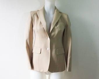 Vintage EVAN PICONE Beige Small Wool Woman's Blazer, 70s, 80s, ILGWU Coat, Jacket, Size 4