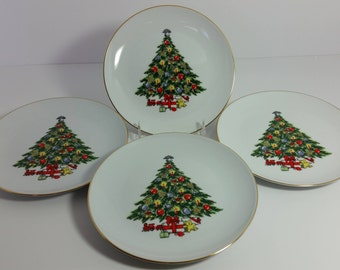 "Set of 4 Vintage Jamestown China ""Christmas Treasure"" Salad / Dessert Plates or ""Holiday Magic"" by Action Industries"
