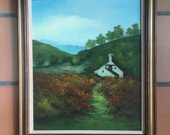 "Framed Original Oil Panting, Vintage,  Signed ""C. INNESS"", Farm Barn Country Scene, White Barn Fence Foothills Landscape, Beautiful"