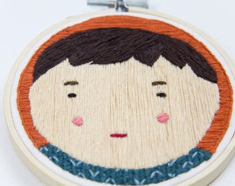 Embroidered illustration Portrait of a Asian boy | Hand stitched