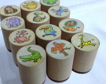 Cute Animal Stamps Recycled Craft Supply Wooden Block Stamps Rubber Stamps for Crafts, Cards, Labels, Gift Tags, Scrapbooking Stamps Bundle