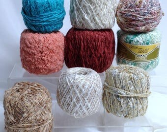 9 Pc Yarn Bundle, Boucle Yarn & More Textured Unique Yarns for Fiber Art Projects, All Together As One Bundle of Variety Yarn Destash
