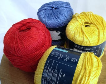 Galleria Crochet Yarn Bright Cotton Fiber Art Yarn for Crafting Crocheting & Knitting 4 Colorful Shimmering Skeins Bundle Red Yellow Blue