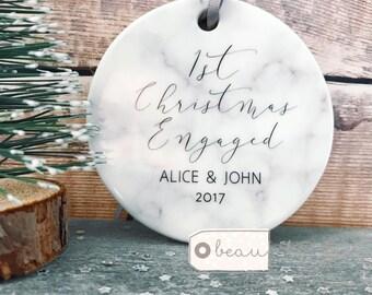 Personalised First Christmas Engaged Marble Style Ceramic Decoration Christmas Gift Keepsake Tree Decoration