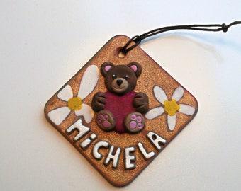 Fiocco nascita bimba bimbo personalizzato con nome orsetto cuore fiori Targhetta personalizzata con nome per la cameretta - fatto a mano -