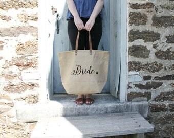 Bride Tote Bag | Natural Burlap Tote Bag | Wedding Tote Bag | Wedding Day Tote | Shoulder Bag Wedding Tote | Bridal Shower Gift for Bride