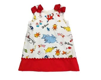 Girls Cat in the Hat A-line dress Toddler Dr Seuss  A-line dress Girl Aline dress Girl dress Girl Aline dress Girl clothes Girl clothings