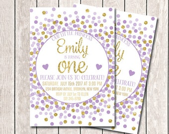 First Birthday Invitation Digital Download Girl 1st Birthday Invitation Purple And Gold Confetti Invitation Gold Lavender Birthday Invites