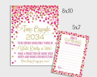 Time Capsule Sign Baby Shower Time Capsule Sign & Message Cards 1st Birthday Time Capsule Printable Pink And Gold Confetti Decorations