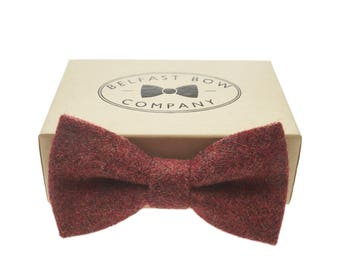 Handmade Tweed Bow Tie in Paprika Rust - Adult & Junior sizes available
