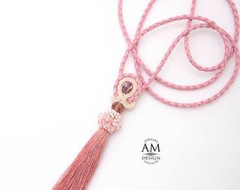 Tassel Necklace  Long Dusty Pink Necklace Tea Rose Boho Misty Rose Wedding Necklace Tassel Soutache Jewelry