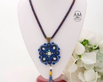 Long Royal Blue Necklace Lapis Lazuli Stone Necklace Dangle Boho Necklace Beads Soutache Jewelry