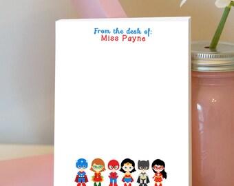 Superhero Notepad - Personalized Teacher Notepad - Superhero Classroom - Superhero Theme - Teacher Gift - Superheroes