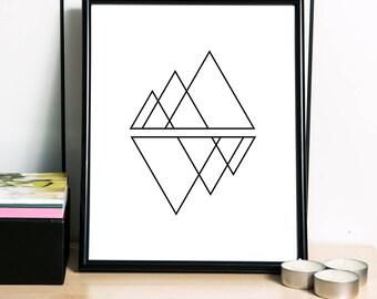 Geometric Print, Polygon Art Print, Scandinavian Print, Modern Print, Geometric Artwork, Abstract Art, Nordic Print - 3 DIFFERENT Sizes