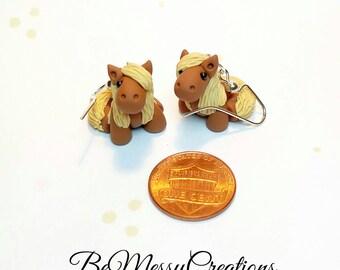 Miniature Horse Earrings, Chestnut w/ Flaxen - Small