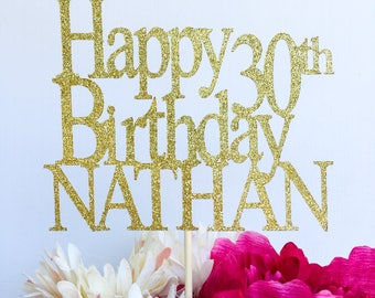 Happy birthday cake topper | Glitter cake topper | Birthday cake topper | Name cake topper | Custom birthday cake topper