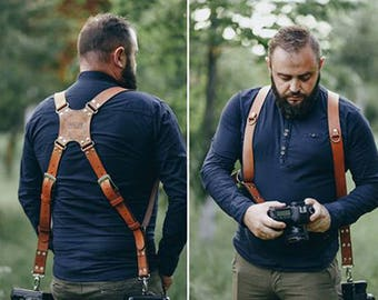 Personalized Dual Cameras Leather Strap, Dual Cameras Strap, Two Camera Harness, Photographer Harness, Dual DSLR Harness, Dual DSLR Strap