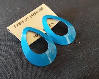 NEW Vintage Turquoise Blue Enamel Teardrop Hoop Earrings