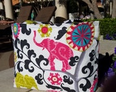 NEW!! Pink and green elephant tote. Knitting project bag, AKA sorority gift tote. Reversible beach canvas bag. Black and grey geometric tote