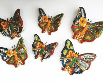 Ceramic Butterfly - Wall Decoration - Garden Decor - Ceramic Butterfly - Hand Painted Butterfly - Vintage Wall Decor