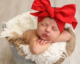 CANDY APPLE Gorgeous Wrap- headwrap; fabric head wrap; red head wrap; boho; newborn headband; baby headband; toddler headband