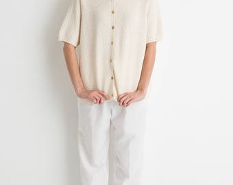 90s Cream Oversized Button Down Knit Shirt L