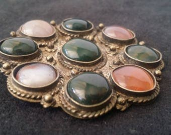 Vintage Convertible Brooch and/or Pendant ~ Geometric Agate on Silver and Brass ~ Stamped INDIA