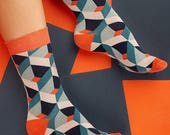 Gaudi Prismatic Socks in Green Blue and Orange for Men and Women