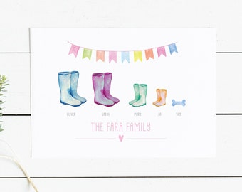 Wellie boot, Family picture, boot picture, wellington boot, home decor, family print, new home gift, prints for the home, christmas gifts