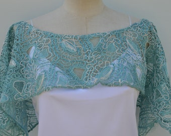 Wedding lace, lace cover-up Cape rebroder lace poncho blue embroidered lace poncho blue wedding, Bridal blue cape