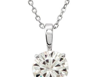 "14 Karat White Gold 6.5mm Forever One Moissanite DEF Solitaire Pendant - 18"" Necklace - 1 Carat Charles and Colvard Forever One Moissanite"