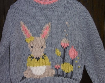 Baby girl pattern 6 months to 2 years mouse handmade sweater