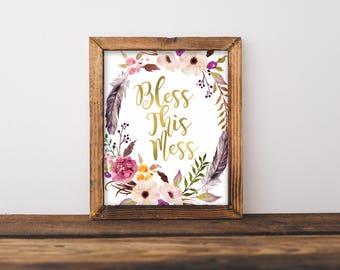 Bless This Mess, Gold Wall Art, Gold Print,Bless This Mess Wall Art,Living Room Wall Art, Floral Wall Art, Christian Wall Art, Scripture Art