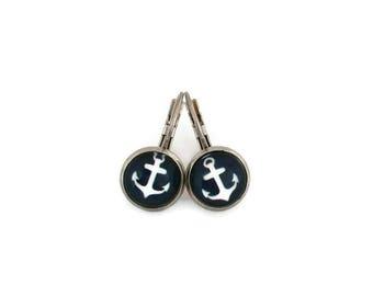 Stud Earrings - stainless steel - glass 8 mm - earring blue stem - anchor glass boat - hypoallergenic / Boat earrings