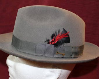 "Vintage  Gray Stetson ""Key Club"" 10X  Fur Fedora Trilby  Hat Size 7 56cm"