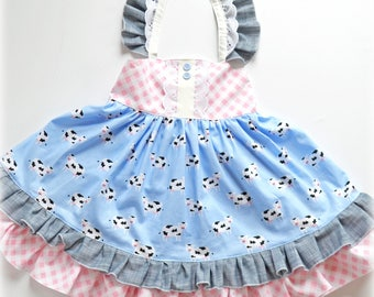 2T Girls Dress, Cow Dress, Ruffle Dress, Toddler Twirl Dress, Country Dress, Cow Print Dress, Square Dance Dress, Chambray, Gingham, Lace