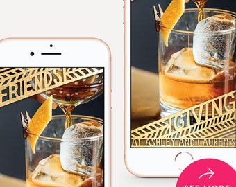 Friendsgiving Snapchat Filter, Friendsgiving Snapchat Geofilter, Friendsgiving Geofilter, Snapchat Geofilter - Metallic Gold