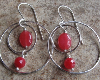 sterling silver 2-loop, Red Jade