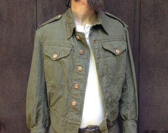 1940's WWII British Denim Jacket / Cropped / Olive Green / Size 6 / Chest 38-40 / Waist 34-35 / Made in England